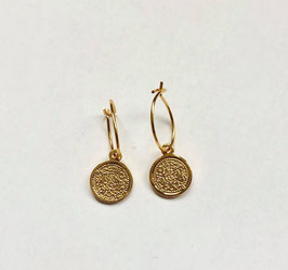 Gold Coin Earrings Small