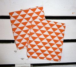 Serviettes de table lot de 2 - Triangles - Orange