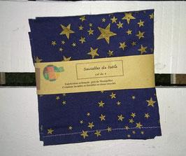 Serviettes de table lot de 2 - Noël étoiles dorées