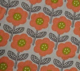 Serviette hygiénique lavable imperméable - Fleurs orange fond gris