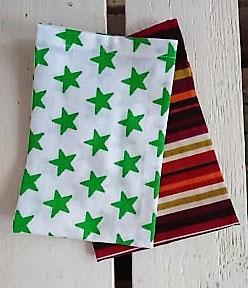 Mouchoirs en tissu Lot de 2 - Rayures et étoiles