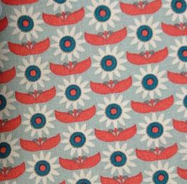 Serviette hygiénique lavable imperméable - Fleurs turquoise fond bleu ciel