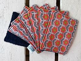 Lingettes Bébé - Lot de 7 - Fleurs orange gris