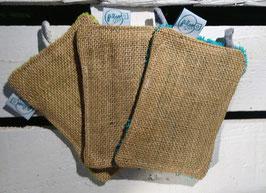 Grattoir lavable - jute turquoise
