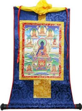 Thangka buda de la medicina enmarcado en seda
