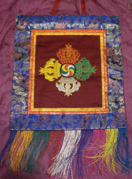 Thangka bordado símbolos tibetanos