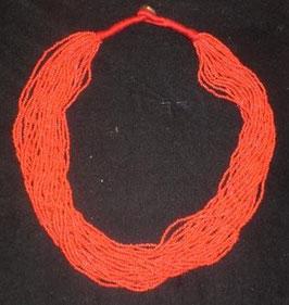 Collar tibetano multitiras bolitas coral o turquesa