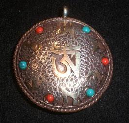 Colgante medallón doble mantra om-Kalachakra, mod. 1