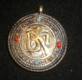 Colgante medallón doble Om-Kalachakra,  mod. 2