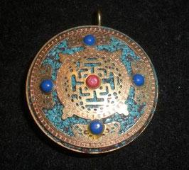 Colgante medallón doble laminado, mandala-Om tibetano