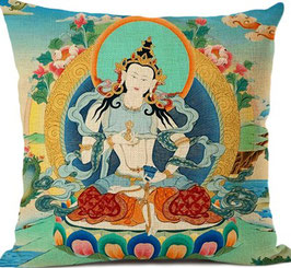 Funda cojín lino y algodón budismo