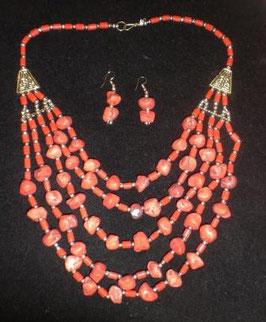 Collar tibetano coral y coralina