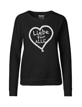 """Taillierter «Liebe für Alle» Sweater weiß - """"Vorne Druff"""""""