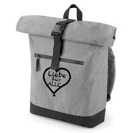Rucksack «Liebe für Alle» grau mit schwarzem Aufdruck