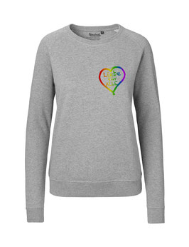 """Taillierter «Liebe für Alle» Sweater Regenbogen - """"Direkt auf's Herz"""""""