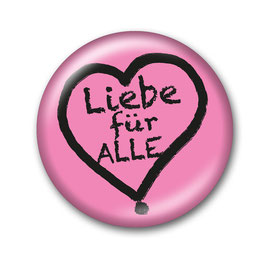 Liebe für Alle Button Rosa/Schwarz