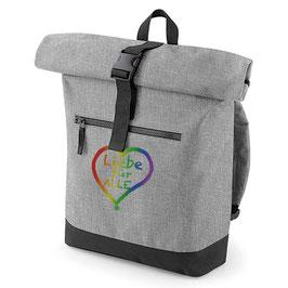Rucksack «Liebe für Alle» grau mit buntem Aufdruck