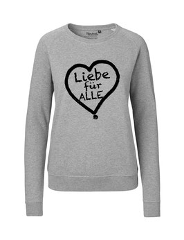 """Taillierter «Liebe für Alle» Sweater schwarz - """"Vorne Druff"""""""
