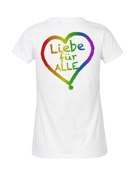 """Tailliertes «Liebe für Alle» Shirt Regenbogen - """"Doppelt Beherzt"""""""