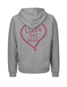 """«Liebe für Alle» Zip-Hoodie pink - """"Doppelt Beherzt"""""""