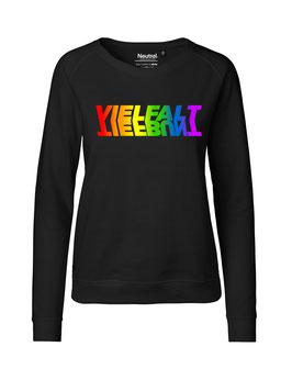 """Taillierter «Vielfalt/Tiefbunt» Symbiose-Sweater Regenbogen - """"Vorne Druff"""""""