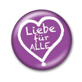 Liebe für Alle Button Lila/Weiß