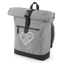 Rucksack «Liebe für Alle» grau mit weißem Aufdruck
