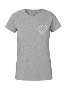 """Tailliertes «Liebe für Alle» Shirt weiß - """"Direkt auf´s Herz"""""""