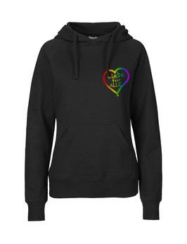 """Taillierter «Liebe für Alle» Hoodie Regenbogen - """"Direkt auf's Herz"""""""