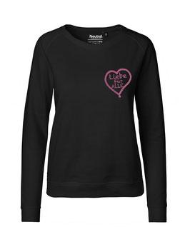 """Taillierter «Liebe für Alle» Sweater pink - """"Direkt auf's Herz"""""""