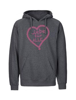 """«Liebe für Alle» Hoodie pink - """"Vorne Druff"""""""