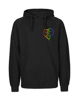 """«Liebe für Alle» Hoodie Regenbogen - """"Direkt auf's Herz"""""""