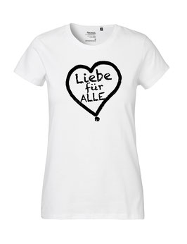 """Tailliertes «Liebe für Alle» Shirt schwarz - """"Vorne Druff"""""""
