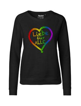 """Taillierter «Liebe für Alle» Sweater Regenbogen - """"Vorne Druff"""""""