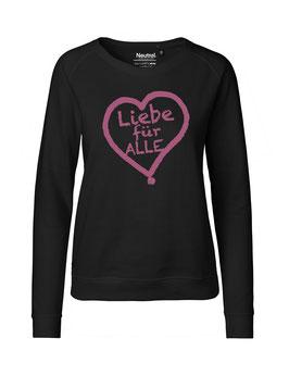"""Taillierter «Liebe für Alle» Sweater pink - """"Vorne Druff"""""""