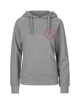 """Taillierter «Liebe für Alle» Hoodie pink - """"Direkt auf's Herz"""""""