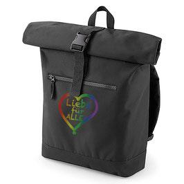 Rucksack «Liebe für Alle» schwarz mit buntem Aufdruck
