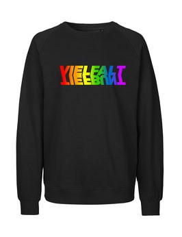 """«Vielfalt/Tiefbunt» Symbiose-Sweater Regenbogen - """"Vorne Druff"""""""