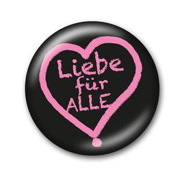 Liebe für Alle Button Schwarz/Pink
