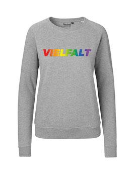 """Taillierter «Vielfalt» Sweater Regenbogen - """"Vorne Druff"""""""