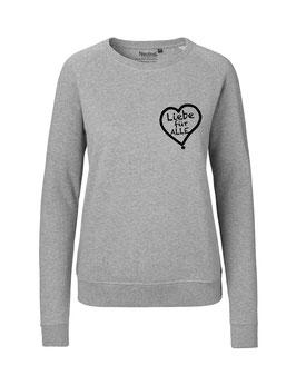 """Taillierter «Liebe für Alle» Sweater schwarz - """"Direkt auf's Herz"""""""