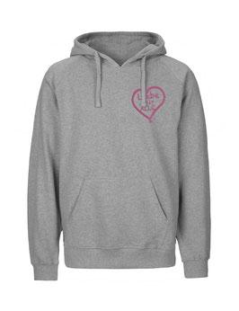 """«Liebe für Alle» Hoodie pink """"Direkt auf's Herz"""""""