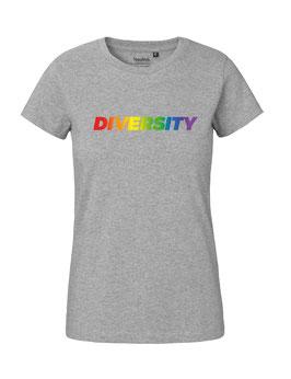 """Tailliertes «Diversity» Shirt Regenbogen - """"Vorne Druff"""""""