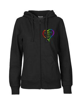 """Taillierter «Liebe für Alle» Zip-Hoodie Regenbogen - """"Direkt auf's Herz"""""""