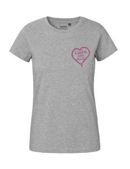 """Tailliertes «Liebe für Alle» Shirt pink - """"Direkt auf´s Herz"""""""