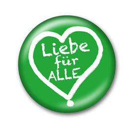 Liebe für Alle Button Grün/Weiß