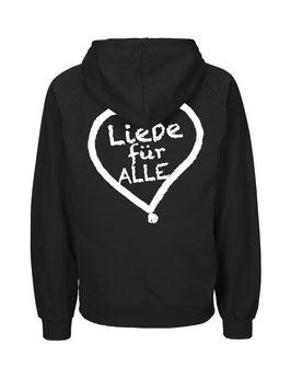"""«Liebe für Alle» Zip-Hoodie weiß - """"Doppelt Beherzt"""""""