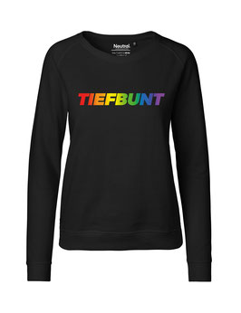 """Taillierter «Tiefbunt» Sweater Regenbogen - """"Vorne Druff"""""""