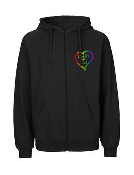 """«Liebe für Alle» Zip-Hoodie Regenbogen - """"Direkt auf's Herz"""""""