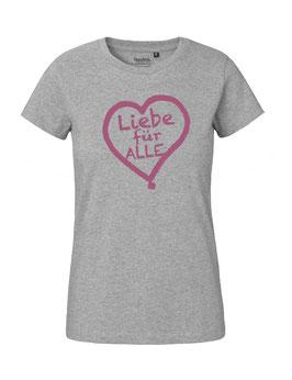 """Tailliertes «Liebe für Alle» Shirt pink - """"Vorne Druff"""""""